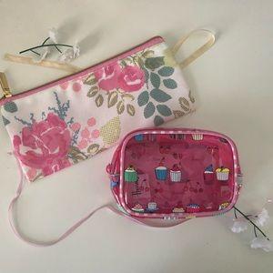 Handbags - Harrods Small Makeup Bag and Floral Pouch Bundle